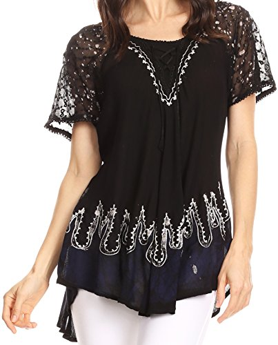 Sakkas 786 - Cora Relaxed Fit Batik Design Embroidery Cap Sleeves Blouse/Top - Black/Navy - OSP