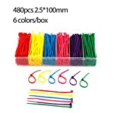 480pieces 4'' Nylon Cable Ties Self-Locking Zip Ties Multi-color (Red,yellow,green,purple,pink,blue) for Outdoor Garden Office Use
