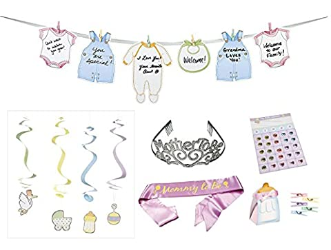 Baby Shower Decorations 100 Pieces–Mother to Be Sash & 40 Plastic Clothespins Mini & Mommy to be Tiara & 24 Baby Bingo Games & 36 Treat Boxes & 12 Hanging Swirls & Garland –Baby Shower Decoration (Family Devotional Videos)