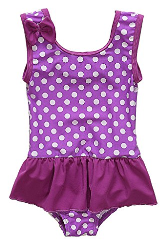 BeautyIn Kids Swim Suit Baby Girls Cute Dots All in One Swimwear, Purple, 6-12 Months