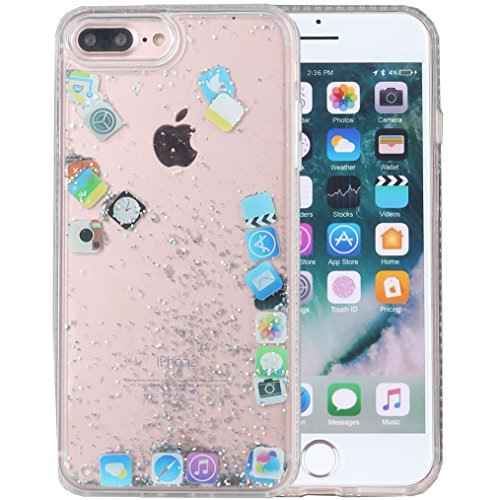 iPhone 8 Plus Case, iPhone 7 Plus Case, iYCK Hard Back Panel and Soft Rubber TPU Bumper Flowing Floating Liquid Quicksand Bling Glitter Sparkle Protective Case Cover for iPhone 8/iPhone 7 Plus - App