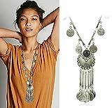 Zhenhui Ethnic Tribal Boho Beads Coin Fringe Necklace Long Belly Dance Bohemian Jewelry (Black)