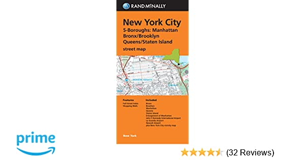 Folded Map: New York City 5 Boroughs (Manhattan/Bronx/Brooklyn ... on
