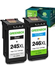 $32 » GreenBox Remanufactured Canon Ink Cartridges 245 and 246 Replacement for Canon PG-245XL CL-246XL PG-243 CL-244 for Canon PIXMA MX492 MX490 MG2920 MG2420 MG2520 MG2522 MG2922 (1 Black 1 Tri-Color)