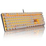 LED Backlit Typewriter Keyboard,Anweer USB Gaming Keyboard Mechanical Keyboard,Games Keyboard with Colorful LED Backlit (Black-With Colorful Light) (white)