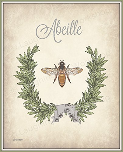 Bee Art Bee Bathroom print French Bathroom Art Retro Antique Vintage Bee Decor Garden Cottage Shabby Chic Bathroom Decor French Bee Print Country Rustic Kitchen ()