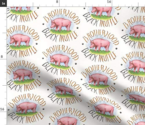 (Truffle Pig Fabric - Pig Kitchen Chef French Pig Truffle Watercolor Animal Vintage Animals Print on Fabric by The Yard - Sport Lycra for Swimwear Performance Leggings Apparel Fashion)