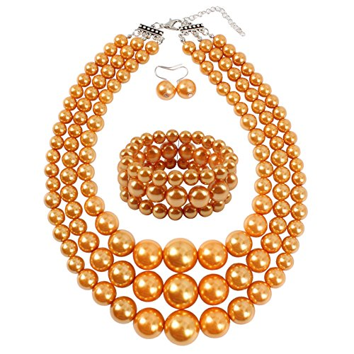 KOSMOS-LI Women's 3 Layer Simulated Orange Pearl Statement 18