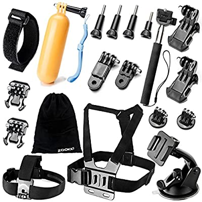 Zookki Accessories Kit for GoPro Hero 5 4 3+ 3 2 1 SJ4000 SJ5000 Camera, Black - Silver