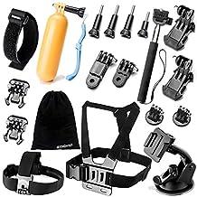 Zookki Camera Accessory Kit for GoPro Hero 4/ 3+/ 3/ 2/ 1/ SJ4000/ SJ5000/ SJ6000 - Black Silver (19 Items)