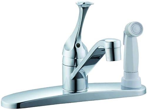 Glacier Bay 67552-1201 Single-Handle White Side Sprayer Kitchen Faucet in Chrome