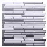 "tile bathroom wall Vamos Tile Premium Anti Mold Peel and Stick Tile Backsplash,Stick On Backsplash Wall Tiles for Kitchen & Bathroom-Self Adhesive-10.62"" x 10"" (6 Sheets)"