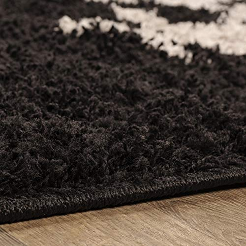 Blue Nile Mills Olesia Shag Area Rug, Super Soft, Extra-Thick Pile, Plush, Shabby-Chic, Industrial, Luxury, Retro Style, Jute Backing, Black-Charcoal, 6 x 9