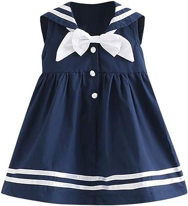 Mitlfuny Primavera Verano Niñas Bebé Vestidos Azul Marino Estilo ...