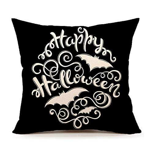4TH Emotion Black Happy Halloween Throw Pillow Case Cushion Cover 18 x 18 Inch Cotton Linen for Sofa]()
