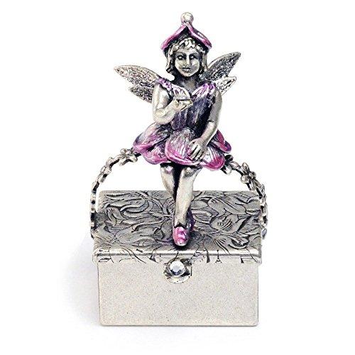 Sweet Romance Miniature Fairy Box, Tooth Fairy Box, Faerie Gift, Keepsake Box, Trinket Box, Baby Keepsake, Fairy Figurine, Decorative Box, Ring Box (Silver)