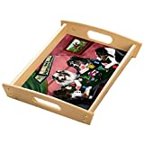 Home of Aussies Australian Shepherd 4 Dogs Playing Poker Wood Serving Tray