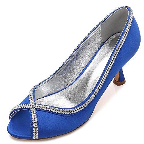 Encargo yc Peep Boda por L Toe Las Blue Mujeres Costura Diamantes De Encaje Prom Summer Zapatos 4wqx6