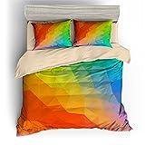 BOMCOM 3D Digital Printing Abstract Geometric Rainbow of Triangles 3-Piece Duvet Cover Sets 100% Microfiber Rainbow Color (queen, Irregular Polygon Rainbow)