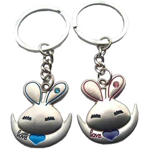 4EVER Love Jumping Rabbits Couple Keychains, with Gift Box & Greeting Card Best for Valentine's Day Anniversary Sales