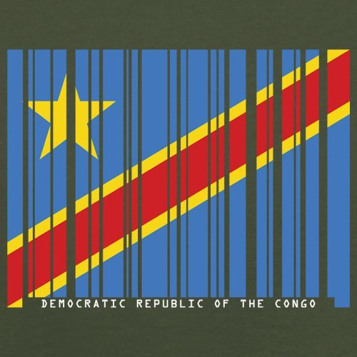 Democratic Republic of the Congo / Demokratische Republik Kongo Barcode Flagge - Herren T-Shirt - Olivgrün - M