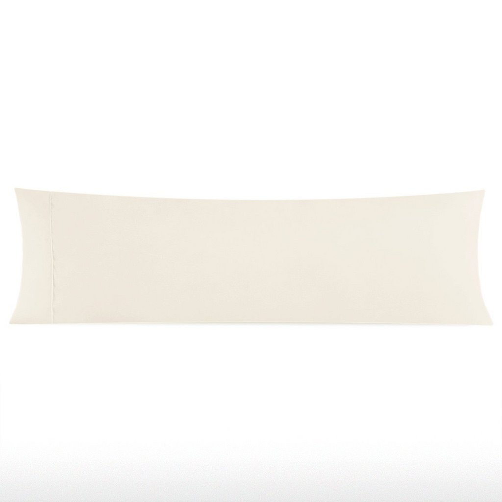 Meraki 1800 Series Soft Brushed Microfiber Solid Ivory, Long Body Pillowcases with Hidden Zippered (20''x 54'') - Hotel Quality - Wrinkle, Fade, Stain Resistant - Hypoallergenic