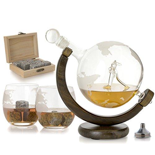 The Wine Savant Etched Globe Plane Liquor Decanter by The Wine Savant