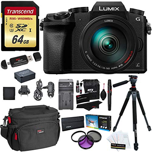 "Panasonic DMC-G7HK Digital Mirrorless Camera 14-140 mm Lens Kit, 4K + Accessory Bundle + Transcend 64 GB High Speed 10 UHS-3 + Ritz Gear 60"" Tripod + Polaroid Optics 58mm 3 Piece Filter Set"