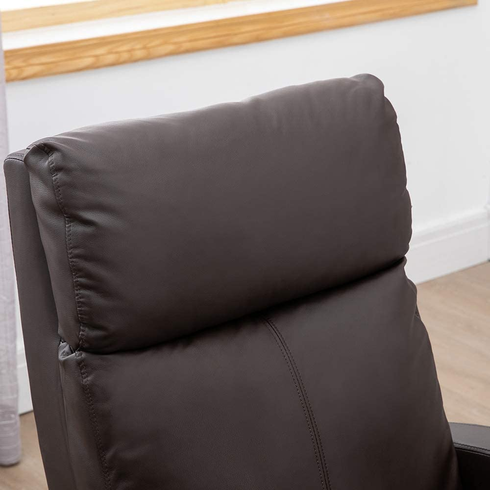 Huisen Furniture Brown Living Room Recliner Chair Armchair Lazyboy for Home TV Cinema with Head Back Support Footrest PU Leather Adjustable Push Back Bedroom Single Sofa Chair
