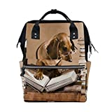 Best Baby Professor Baby Cameras - WOZO Dachshund Professor Book Multi-function Diaper Bags Backpack Review