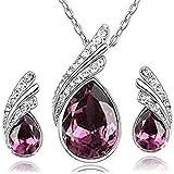 fashion jewelry set Swarovski Crystal necklace and earrings drill flash jewelry - Purple