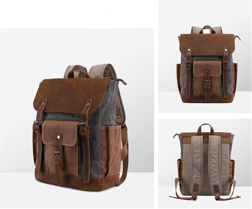 A.OAQRFA Vintage Herren Rucksack Öl Wachs Leinwand Tasche wasserdicht Leder Rucksack Herren europäischen und amerikanischen Reise Umhängetasche Militärgrün