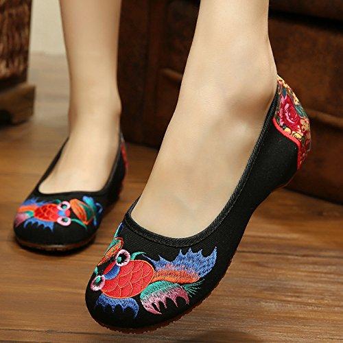 DESY Gestickte Schuhe, Sehnensohle, ethnischer Stil, weibliche Tuchschuhe, Mode, bequem, Tanzschuhe Black