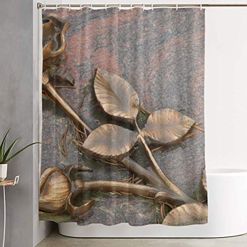Bronze Sculpture of A Rose Bathroom Unique Design Decoration Polyester Fabric Anti-Mildew Shower Curtain Set with Hooks 60W X 72L Inches