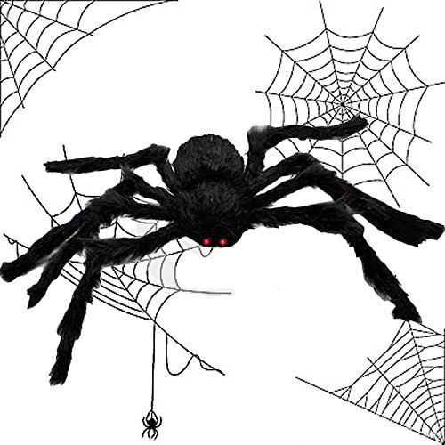 Halloween Spiders On House (Halloween Spider - SIXONE Scary Halloween Party Giant Spider Scary Decoration Haunted House Prop Indoor Outdoor Yard Decor - 4.1ft Black)