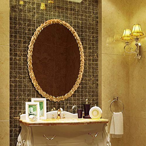 Antique Oval Bathroom Mirror, Ornate Wall Mounted Mirror, Decorative Mirror for Bedroom -