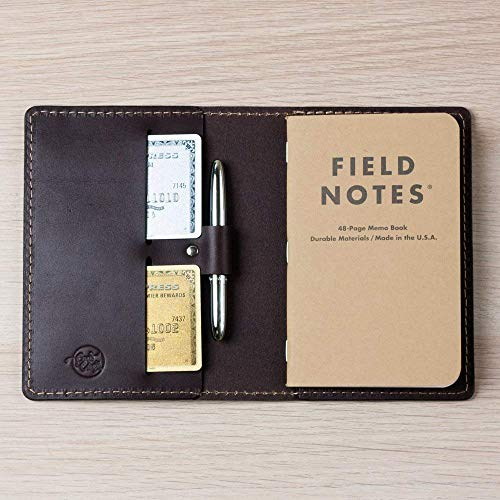 Coal Creek Leather Field Notes Cover with Pen Holder/Moleskine Cover - Full Grain Wickett & Craig Leather/Moleskine Wallet/Monogrammed Personalized / FLD4