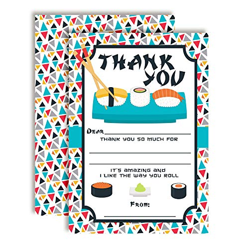 (Let The Good Times Roll Sushi-Themed Thank You Notes, Ten 4