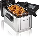 Deep Fryer-Hamilton Beach 2-Liter Deep Fryer, Stainless Steel-Restaurant Deep Fryer-That Helps You Heat And Cook Large Quantities Of Food All At Once-Cooks 15 Chicken Tenders-With Adjustable Temperature-Includes Frying Basket And Basket Hook For Easy Drai