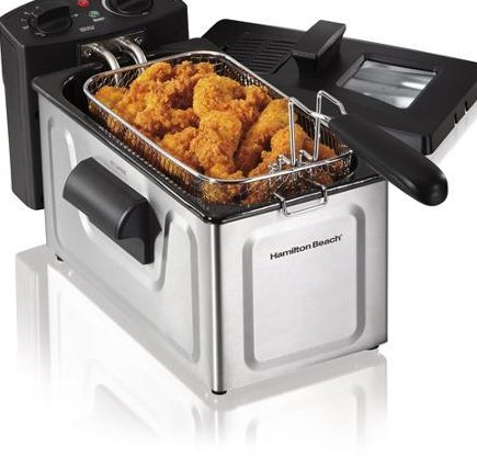 Deep Fryer-Hamilton Beach 2-Liter Deep Fryer, Stainless Steel-Restaurant Deep Fryer-That Helps You Heat And Cook Large Quantities Of Food All At Once-Cooks 15 Chicken Tenders-With Adjustable Temperature-Includes Frying Basket And Basket Hook For Easy Draining-Looking For A Great Way To Serve 5 Servings Of French Fries Or Onion Rings Fast?