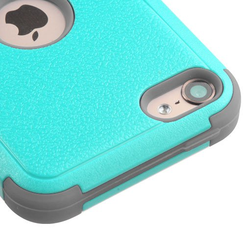 Apple iPod Touch 5 5th Gen / 6 6th Gen Case, Kaleidio [Natural TUFF] Rugged Dual Layer Hybrid Cover [Includes a Overbrawn Prying Tool & Stylux Stylus] [Turquoise/Grey] (Ipod 5 Cases Made By Mybat)