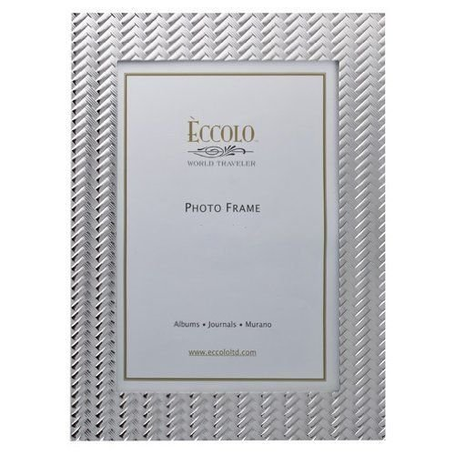 (Eccolo World Traveler Basketweave Pewter Frame, Holds a 5 by 7-Inch Photo )