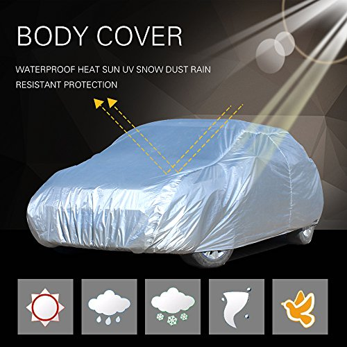 SCITOO Universal Fit Car Cover, Lightweight Waterproof Automotive Car Cover Breathable Frost Resistant Cover fit All Cars 190″ Long – all weather protection(1pc)
