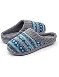 Women's Fair Isle Sweater Knit Memory Foam Slipper