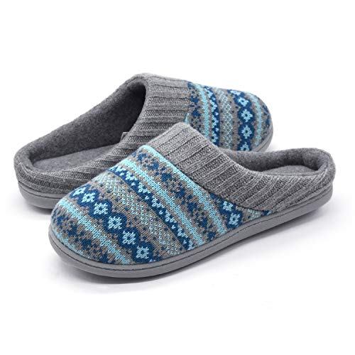 RockDove Sweater Knit Scuff Slippers for Women, Size 7-8 US Women, Teal Blue