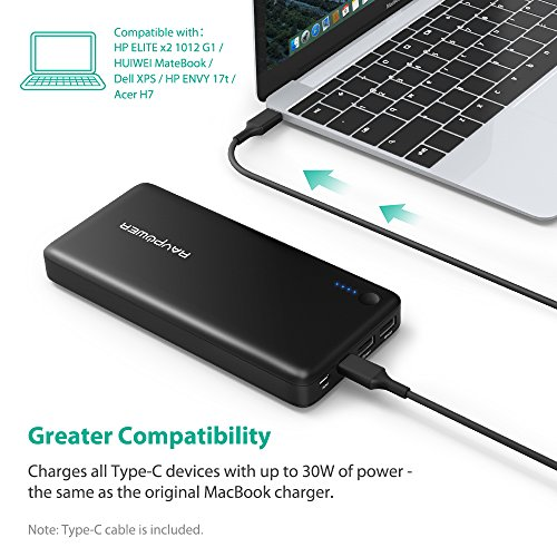 PD USB Type C Portable Charger RAVPower 26800mAh Power Bank (Faster Recharged in 4.5 Hours with USB-C Input; 30W USB C Output; USB C Cable Included, Dual iSmart 2.0 USB Ports) For Phones, Macbook 12
