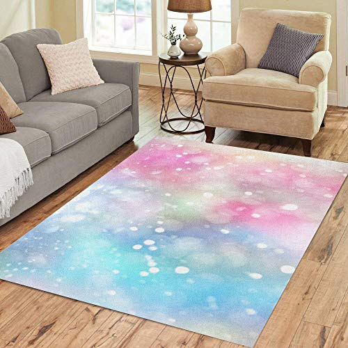 Semtomn Area Rug 5' X 7' Rainbow Pastel Lens Bokeh Effect Colorful Spot Blur Bubble Home Decor Collection Floor Rugs Carpet for Living Room Bedroom Dining Room