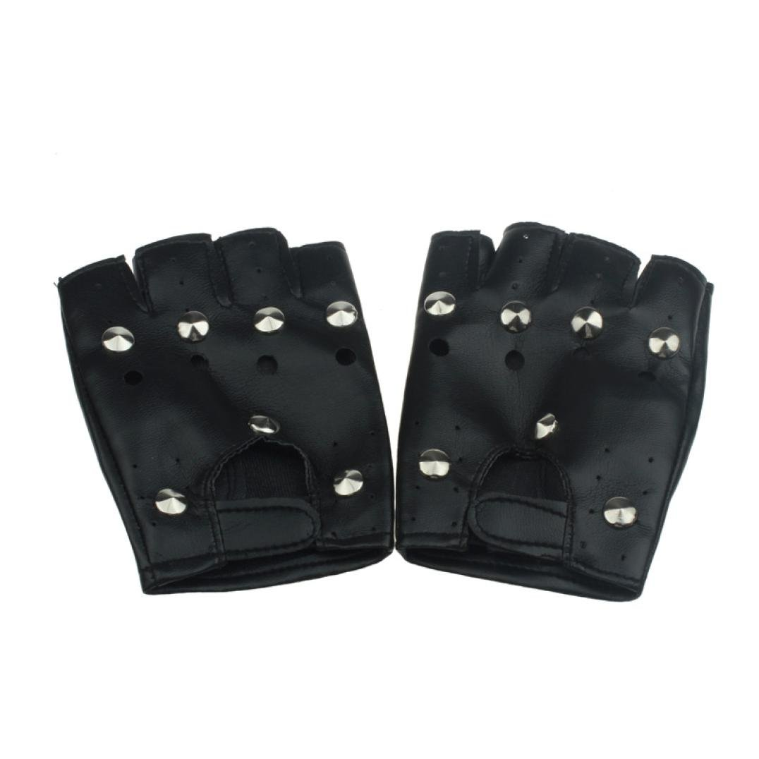Voberry Theatrical Punk Hip-hop PU Black Half-finger Leather Gloves Round Nail