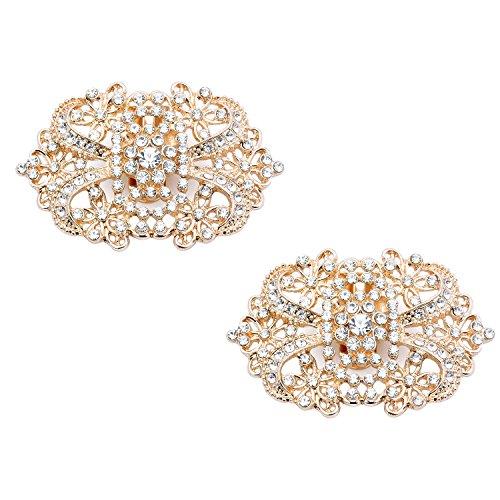 ElegantPark CJ 2 Pcs Shoe Clips Spider Design Wedding Party Accessories Decoration Gold ()
