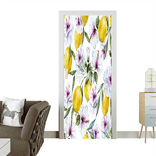 Decorative Door Decal Lemons Essence Refreshing Agriculture Harvest Aroma Organic Watercolor Art Stick The Picture on The doorW32 x H80 INCH -